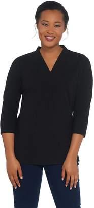 Denim & Co. Essentials Perfect Jersey V-Neck 3/4 Sleeve Top