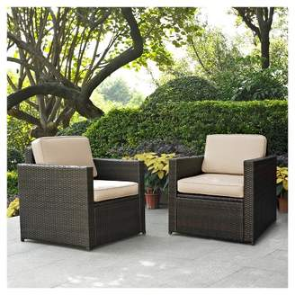 Crosley Palm Harbor 2pc Outdoor Wicker Seating Set with Cushions - Two Outdoor Wicker Chairs
