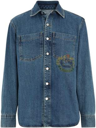 Burberry crest-print denim shirt