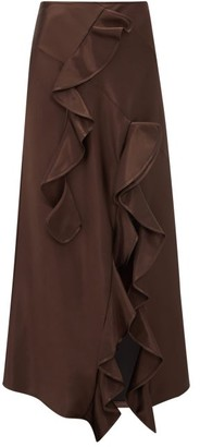 Ellery Salero Ruffled Satin Skirt - Womens - Dark Brown