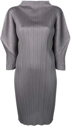 Pleats Please Issey Miyake puff sleeve pleated dress