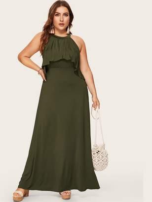 Shein Plus Button Keyhole Back Ruffle Maxi Dress