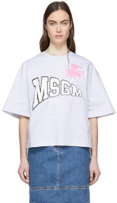 MSGM Grey Palm Logo T-Shirt