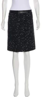 Milly Leather-Trimmed Knee-Length Skirt