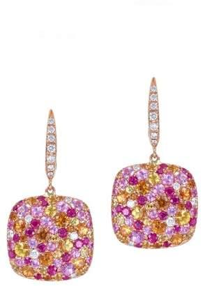 Multi Color Stone & Diamond 18K Rose Gold Earrings