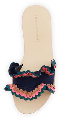 Loeffler Randall Birdie Suede Flat Ruffled Sandals