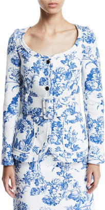 Oscar de la Renta Toile Open-Neck Button-Front Jacket