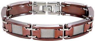 FINE JEWELRY Mens Mesh Stainless Steel & Brown Ceramic Bracelet
