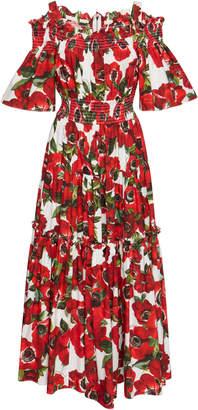 Dolce & Gabbana Floral Off-The-Shoulder Poplin Dress