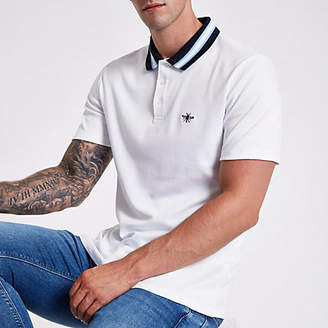 River Island White stripe collar muscle fit polo shirt
