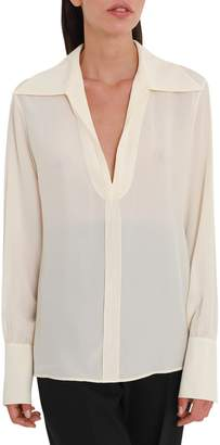 Chloé Closed Shirt With Wide Collar And V Neck