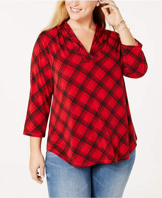 Charter Club Plus Size Printed 3/4-Sleeve Top