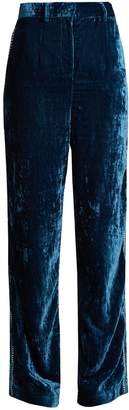 JUPE BY JACKIE Moritz embroidered silk-velvet trousers