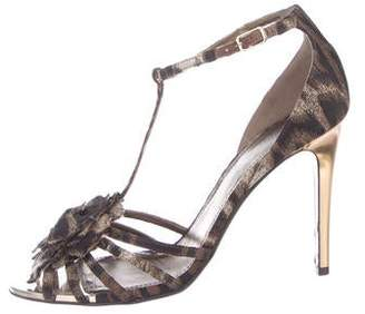 Lanvin Peep-Toe Canvas High Heels