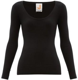 JoosTricot Peachskin Scoop Neck Cotton Blend Sweater - Womens - Black