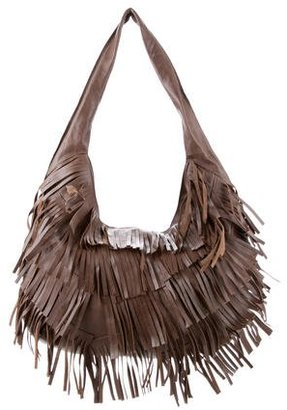Andrew Marc Fringe-Trimmed Leather Hobo w/ Tags $145 thestylecure.com