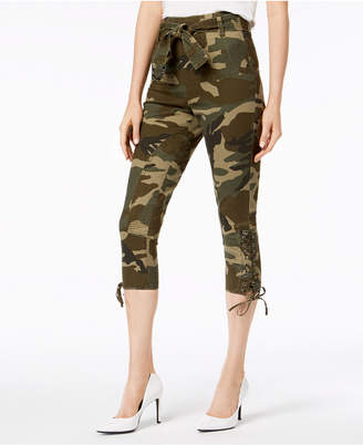 KENDALL + KYLIE Camo-Print Lace-Up Capri Pants
