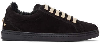 Jimmy Choo Black Suede and Fur Cash Sneakers