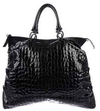 Ermanno Scervino Ponyhair-Trimmed Embossed Bag