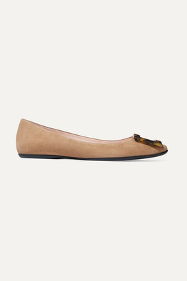 Roger Vivier Gommette Embellished Suede Ballet Flats - Tan