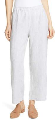 Eileen Fisher Stripe Straight Leg Crop Linen Pants