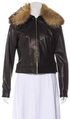 L'Agence Fur-Trimmed Leather Jacket