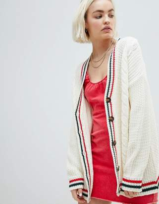 Asos Design Cardigan With Sports Tipping