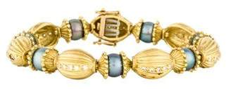 Doris Panos 18K Pearl & Diamond Fluted Link Bracelet