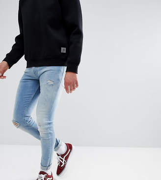Just Junkies Max Super Skinny Jeans In Light Wash With Rip And Repair