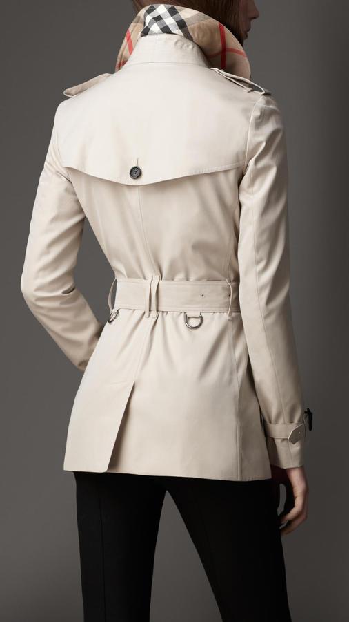 Burberry Short Cotton Gabardine Trench Coat