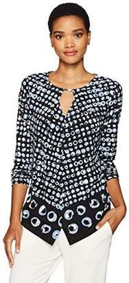 Jones New York Women's L/SLV Pullover W/Split Hem and Keyhole FRT