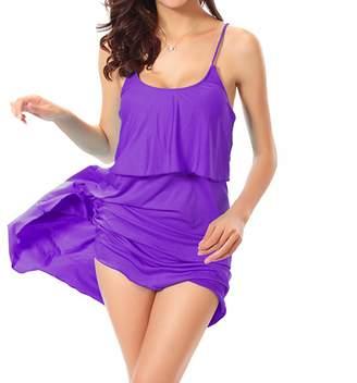 Feisen Women's Solid Color Dresses Strap Sundress Sleeveless Beach Dresses S