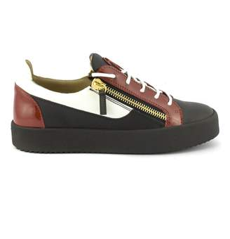 Giuseppe Zanotti Black Calfskin Leather Low-top Sneaker With Red Patent Leather Insert.