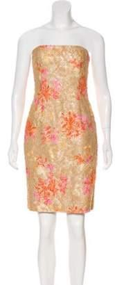 Carmen Marc Valvo Beaded Strapless Dress Tan Beaded Strapless Dress