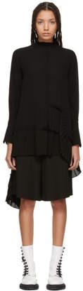 Alexander McQueen Black Asymmetric Ruffle Shirt