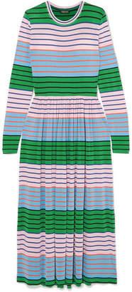 Stine Goya Joel Striped Stretch-jersey Midi Dress - Green