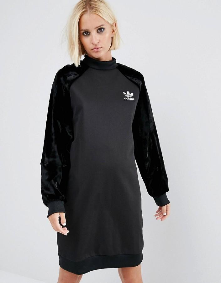 Adidas adidas Originals Sweatshirt Dress With Velvet Sleeves
