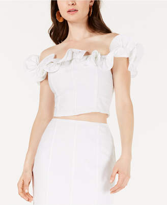 1cd011f0063bc GUESS Ruffled Off-The-Shoulder Cropped Top