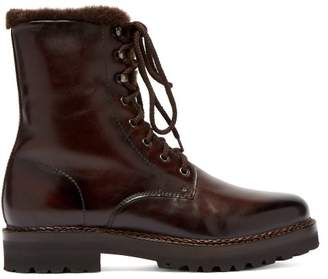 Ralph Lauren Purple Label Jenkins Shearling Lined Leather Boots - Mens - Dark Brown