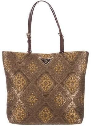 Prada Leather-Trimmed Jacquard Tote