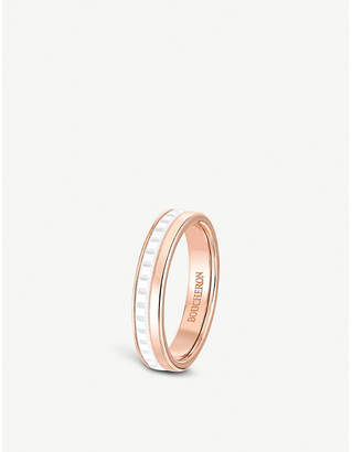 Boucheron Quatre White Edition 18ct pink-gold and ceramic wedding band