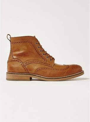 Topman Mens Brown Tan Leather Royal Brogue Boots