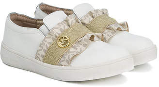 Michael Kors Kids laceless ruffled sneakers