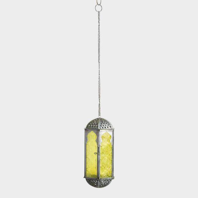 Yellow Embossed Glass Hanging Lantern