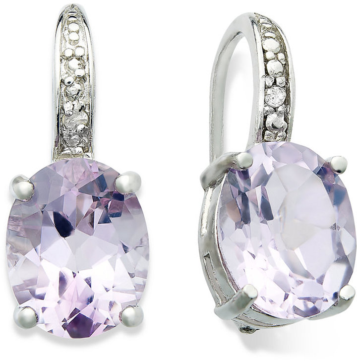 Sterling Silver Earrings, Amethyst (4-3/4 ct. t.w.) and Diamond Accent Oval Leverback Earrings