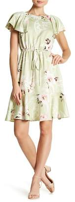 Nine West Ruffle Sleeve Floral Print Fit & Flare Dress