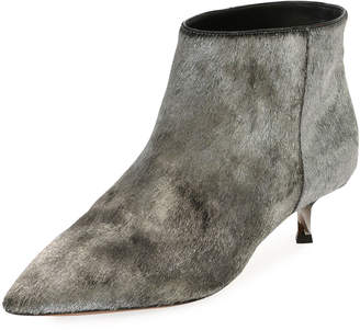 Valentino Twist Heel Low Ankle Boot, Silver