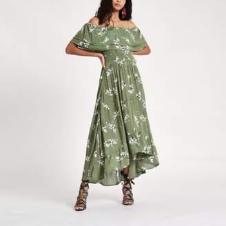 River Island Womens Green floral frill bardot maxi dress