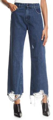 DL1961 Premium Denim Hepburn Wide-Leg Destroyed-Ankle Jeans
