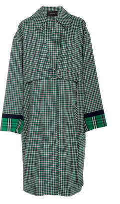 Cédric Charlier Oversized Collared Plaid Coat